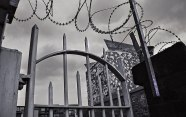 Bars and razor wire. Tourist friendly Birmingham.