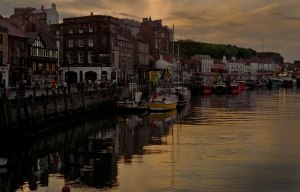 West side of Whitby harbour at dusk.